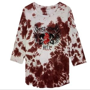 NEW White Brown Graphic Skulls Tie Dye Torrid Tees